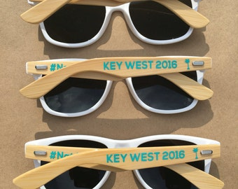 ADULT Personalized Sunglasses, Bamboo Wood Arms, Wedding Favor, Bachelor Party Favor, Bachelorette Sunglasses, Bridal Party Sunglasses