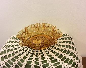 Vintage Fenton Amber Glass Ruffled Bowl