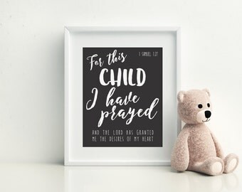 For this child I have prayed, 1 samuel 1 27, baby shower gift, nursery decor, bible verse, nursery printable, 1 samuel nursery art