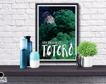 My Neighbor Totoro Poster, Studio Ghibli, Movie, Abstract, Simplified, Totoro, Illustrated, Hayao Miyazaki, Poster, Gift