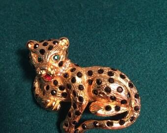 jeweled leopard brooch