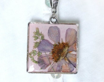 Free shipping, Necklace, Pendant with real flower, Square Pendent - a picture, lilac flower, Cosmos, pinc, Real flower resin pendant
