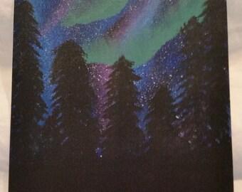 8x10 Aurora Borealis Painting on Canvas Board