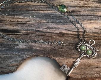 Green Owl Key Necklace