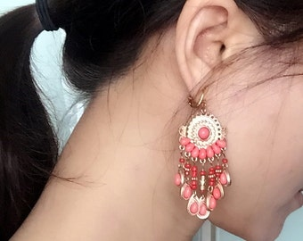 Coral Pink Beads Gold Chandelier Earrings