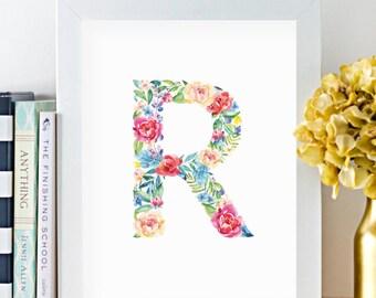 Monogram Art.  Watercolor Floral Letter R - Instant Download Digital Print.  Girls room and nursery art.