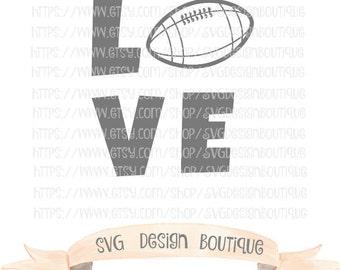 Love Football SVG  - Sports SVG- Football Cut File - Vinyl cutting file | Silhouette  & Cricut Design - DXF - Onesie - Kids t-shirt