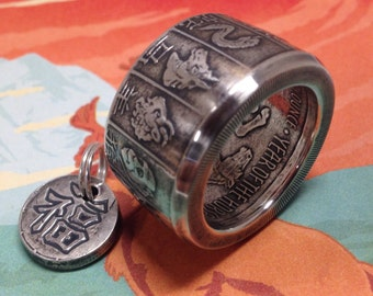 Coin Ring made from a Year of the Horse 99.99% Pure Silver Coin
