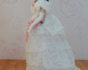 Hand Made 1/12th scale Victorian Lady in a OOAK Vintage Lace Evening Gown