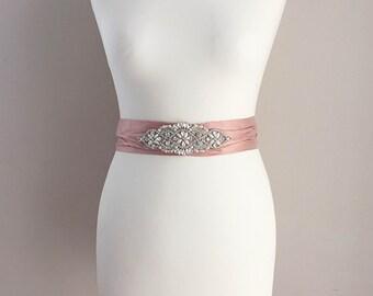 Carlotta dusky blush pink silk snd crystal bridal sash