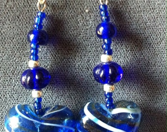 Blue glass hearts