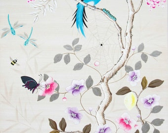 Hand-Painted Chinoiserie - Wood Panel