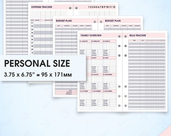 Finance planner filofax personal size inserts printable (finance inserts, budget planner, bill tracker, money savings expense debt tracker)