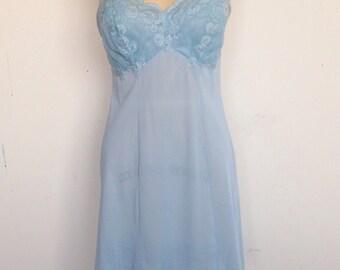 Lovely vintage 50s pale blue nylon and lace slip