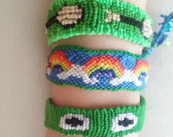 Set of 3 Green Rainbow Kermit the Frog Muppets Handmade One of a Kind Friendship Bracelet Disneybounding Inspired