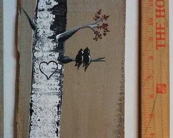 Love birds on birch tree wall  hanging