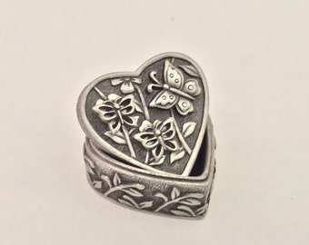 ms.dee pewter heart shaped box/pin/earing set butterfly and flower theme trinket