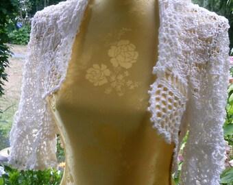Knitting Crochet Bolero, white, size 36-38 (S M),