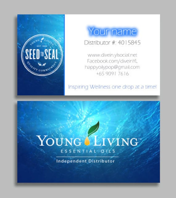 Young Living Business Card Template: Water Young Living Business Card Essential Oils