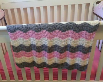 Pink and Grey Crochet Chevron Baby Blanket