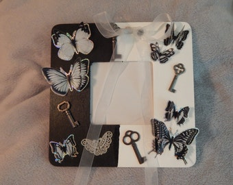 Black and White Butterfly Picture Frame