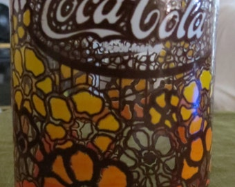 Vintage Coca Cola Flowered Glass