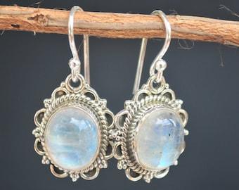 Rainbow Moonstone Earrings * Sterling Silver * Dangle Earrings * White Earrings * Genuine Moonstone BJE052