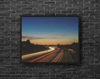 Night Road Photo - Night Lights Photo - Road Trip Photo - Road Photography - Highway Photo - Road Wall Art - Men Room Decor - Photography