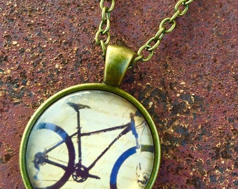 Mountain Bike Cabochon Necklace