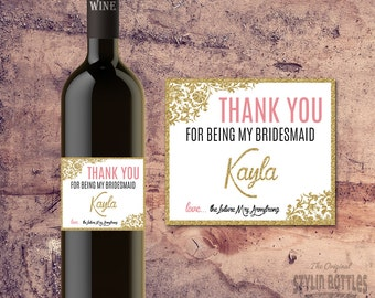 BRIDESMAID THANK YOU Personalized Wine Bottle Label Gift