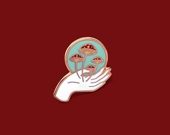 Mushroom Nurture Nature Pin // Artist Series pin by Frolik Studio // Mycology Red White Copper Fly agaric Amanita muscari Gift