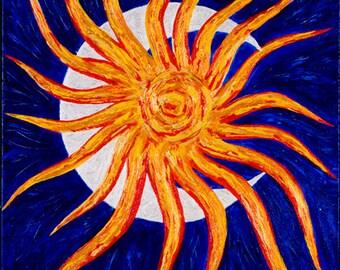 Vibrant Shimmering Sun and Moon Original Acrylic Painting