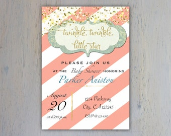 Twinkle Twinkle Little Star, Twinkle star invitation, Girl baby shower, Coral, Gold, Teal, Baby shower
