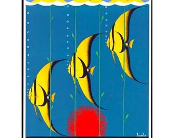 Australia Travel Poster - Great Barrier Reef - Vintage Travel Print Art - Home Decor