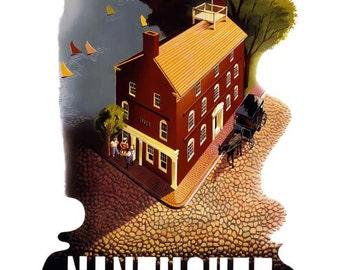 Nantucket Massachusetts Travel Poster - Vintage Retro Travel Print Art - New Haven Railroad Home Decor