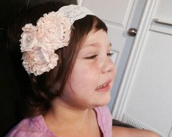 Blush pink and ivory rosette headband