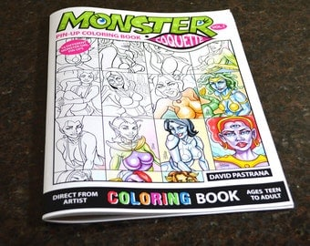 Monster Coquette Pin-up Coloring Book for teens & adults {Marker Friendly}