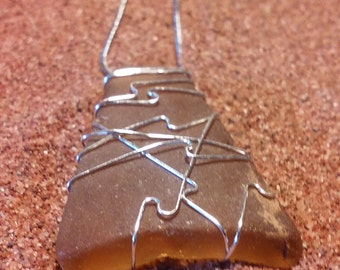 Brown Wire Wrapped Sea Glass Necklace