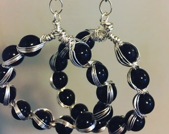 Wire wrapped bead earrings in black