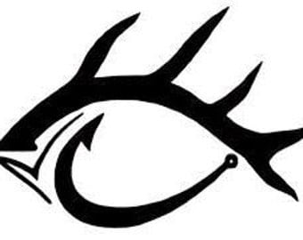 Fish and Hook Car/Truck Decal *White*