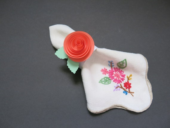 67 Best Images About Napkin Rings Menu Cards On: Salmon Napkin Rings Quilled Coral Rose Paper Flower Set Of