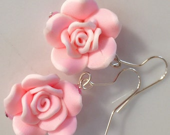 Pale pink rose earrings.