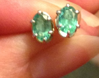 6x5 genuine emerald earrings in thin sterling silver