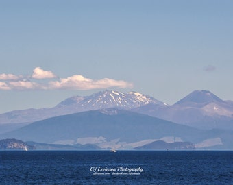 Looking Across Lake Taupo, New Zealand - original photograph, digital download, landscape photo