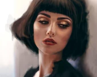 Custom Digital Portrait. Realistic Painting , Printable Digital File