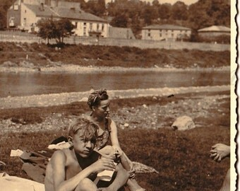 Vintage Photo - Friends Photo - Summer - River - Young man - Best Friends - Vintage Snapshot - Polish Photo - Prewar Photo - Prewar Poland