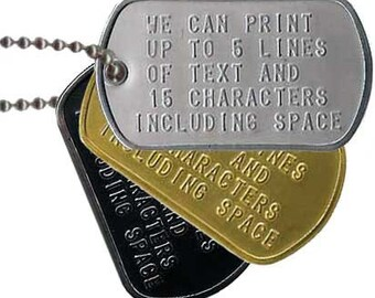 Custom Military Single Dog Tag. 1 SINGLE DOG TAG. Military Dog Tag. Accessories for Men. Accessories for Women. Accessories for Kids.