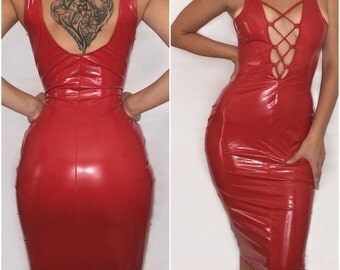 Scarlette - Latex Faux Leather Lace Up Body Con Dress