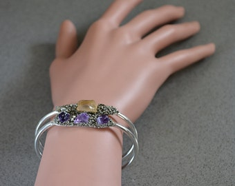 Rustic Bracelets - Mother of the Bride Gift - Wedding Bridal Party Jewelry - Mother of the Groom Gifts - Raw Amethyst & Citrine Bracelets