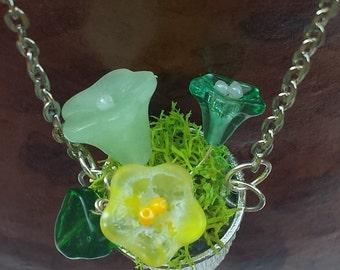 Glass Bead Flower Pot Necklace
